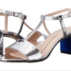 NIB Furla Wanda Silver Metallic Sandals